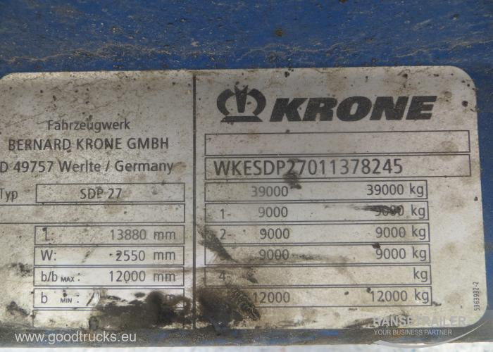2002 Puspriekabė Užuolaidinė Krone SDP 27