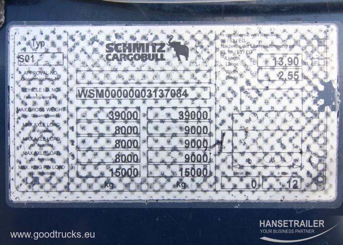 2011 Puspriekabė Užuolaidinė Schmitz SCS 24/L
