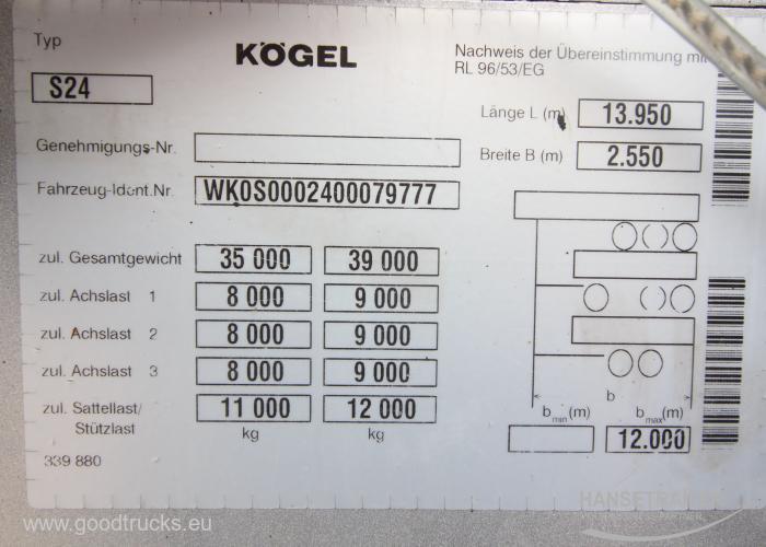 2007 Puspriekabė Užuolaidinė Koegel SNCO 24