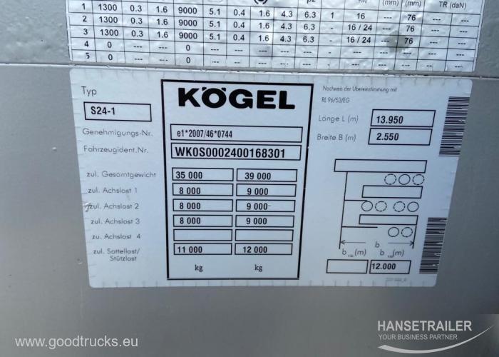 2014 Puspriekabė Užuolaidinė Koegel SN 24