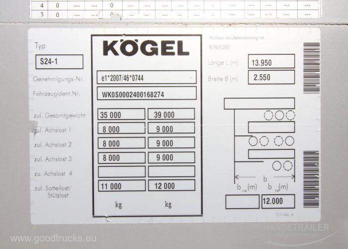2014 Puspriekabė Užuolaidinė Koegel SN 24 Lifting Axle Multilock XL