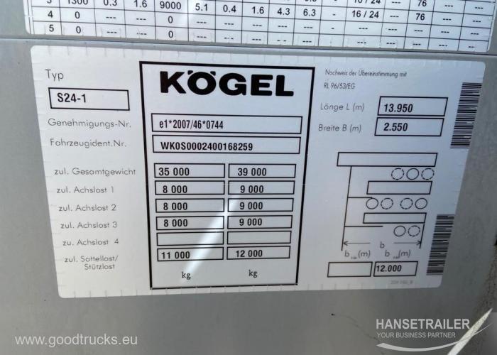 2013 Puspriekabė Užuolaidinė Koegel SN 24 Virintas rėmas frame damage