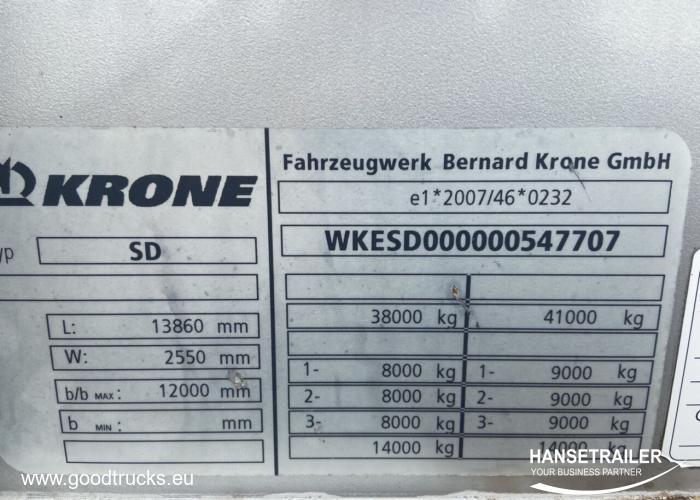 2012 Puspriekabė Užuolaidinė su bortais Krone SDP 27