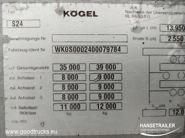 2007 Puspriekabė Užuolaidinė Koegel SN 24