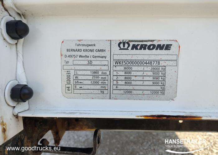 2008 Puspriekabė Užuolaidinė Krone SDP Lift axle
